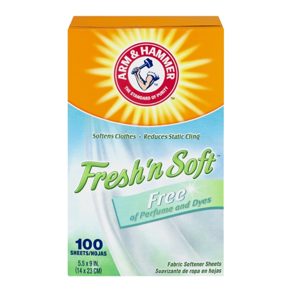 Arm & Hammer Fresh 'n Soft Fabric Softener Sheets Free of Perfumes & Dyes