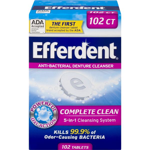 Efferdent Denture Cleanser Complete Clean Antibacterial Tablets