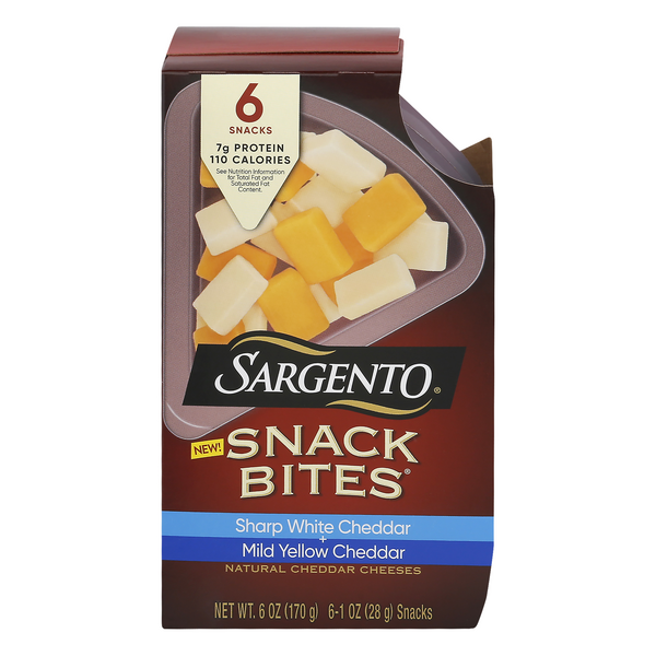 Sargento Snack Bites Sharp White Cheddar + Mild Yellow Cheddar - 6 ct