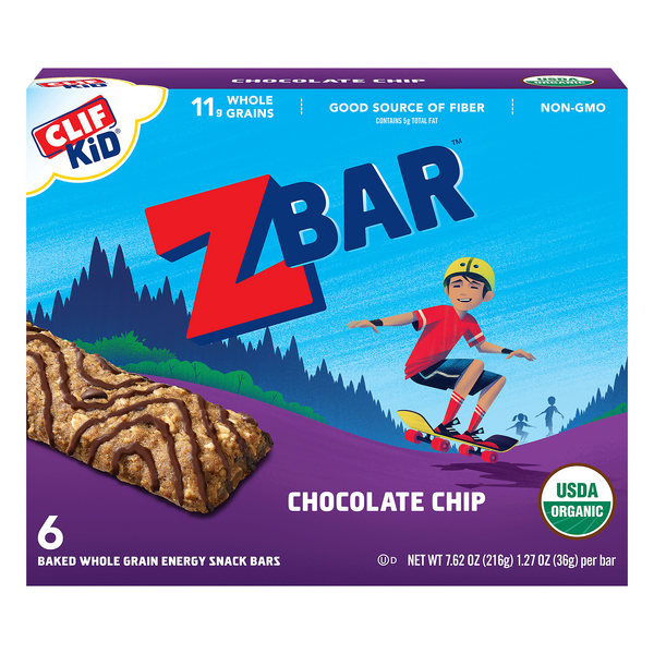 Clif Kid Zbar Energy Snack Chocolate Chip Organic - 6 ct