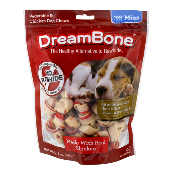 DreamBone Mini Chews Vegetable & Chicken No Rawhide - 36 ct