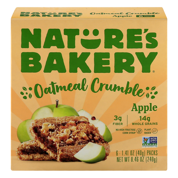 Nature's Bakery Oatmeal Crumble Apple Plant-Based - 6 ct