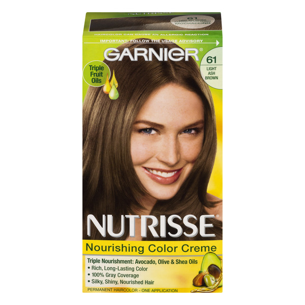 Garnier Nutrisse Permanent Hair Color Light Ash Brown 61