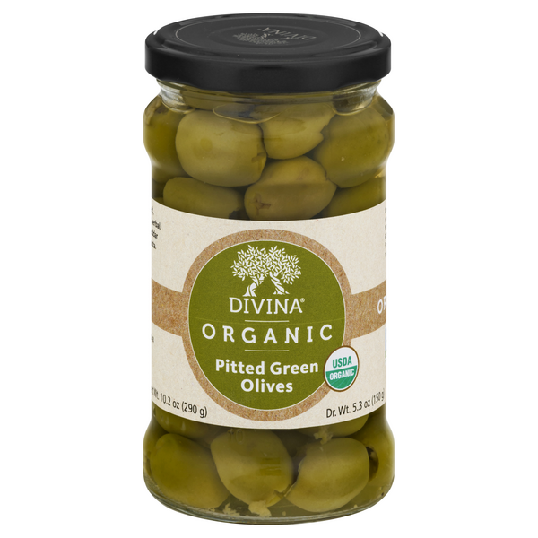 Organic Divina Green Olives Pitted