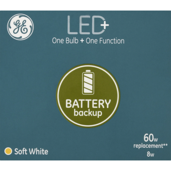 GE LED+ Light Bulb Battery Backup Soft White 60w