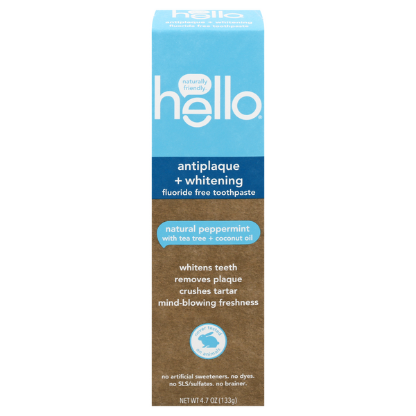 Hello Antiplaque + Whitening Fluoride Free Toothpaste Natural Peppermint