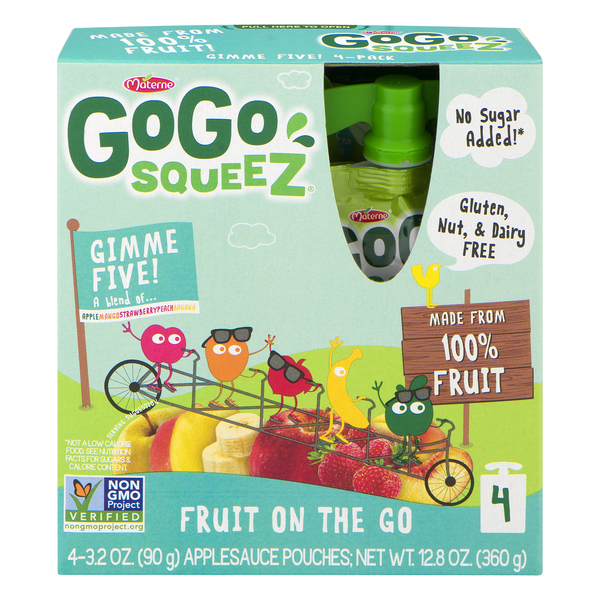 GoGo squeeZ Fruit on the Go Apple Sauce Pouches Gimme 5 - 4 ct