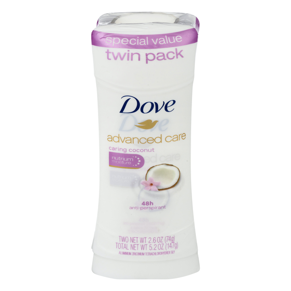 Dove Advanced Care Twin Pack Caring Coconut Anti-Perspirant - 2 ct