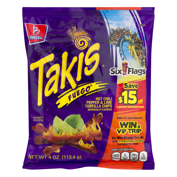 Barcel Takis Tortilla Chips Fuego Hot Chili Pepper & Lime