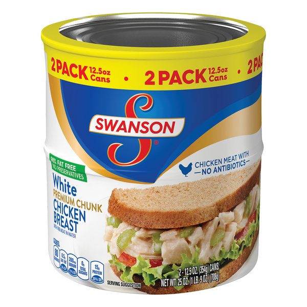Swanson Premium White Chicken Breast Chunk w/Rib Meat in Water - 2 ct