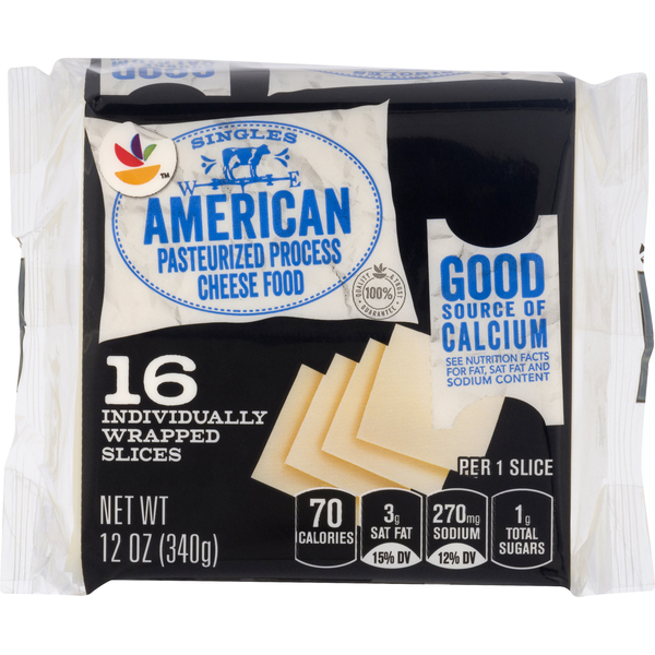 GIANT American Cheese Food White Singles - 16 ct