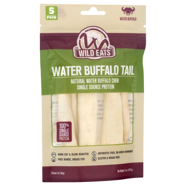 Wild Eats Water Buffalo Tail Chews for Dogs Gluten Free - 5 ct