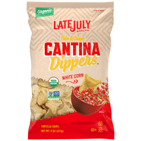 Late July Snacks Tortilla Chips Cantina Dippers White Corn Organic