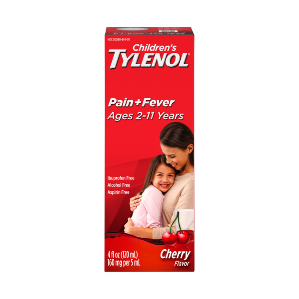 Tylenol Children's Acetaminophen Oral Suspension Pain + Fever Cherry