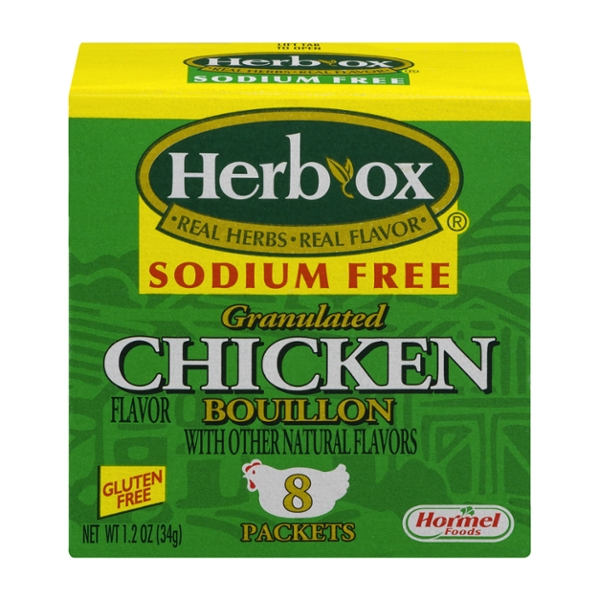 Herb-Ox Granulated Bouillon Packets Chicken Sodium Free Gluten Free - 8 ct