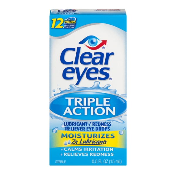 Clear Eyes Triple Action Relief Redness Reliever Eye Drops Lubricant