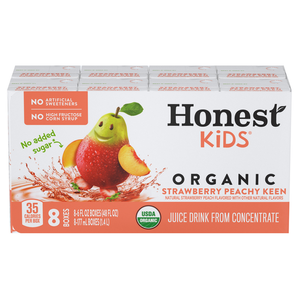 Honest Kids Juice Drink Strawberry Peachy Keen Organic - 8 pk