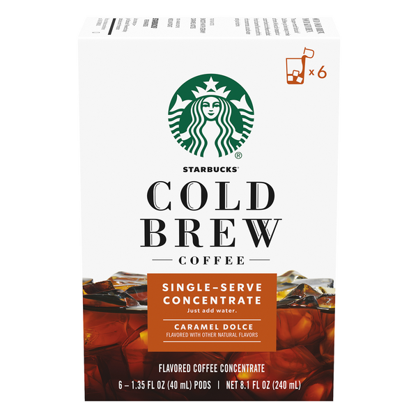 Starbucks Cold Brew Coffee Single-Serve Concentrate Caramel - 6 ct