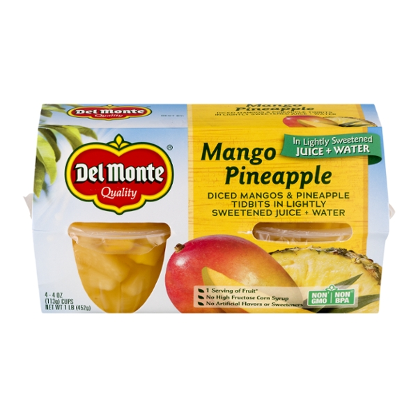 Del Monte Fruit Cups Mango Pineapple Diced in Light Syrup - 4 ct