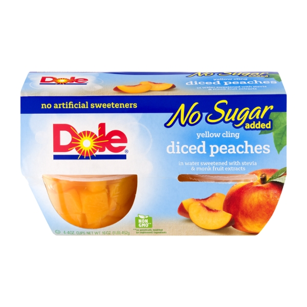 Dole Fruit Bowls Peaches Yellow Cling Diced No Sugar Added - 4 ct
