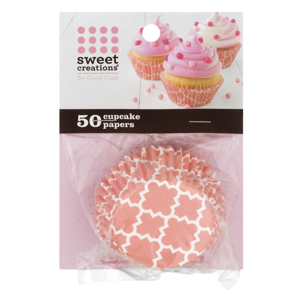 Sweet Creations Cupcake Papers PInk Geometric Shapes