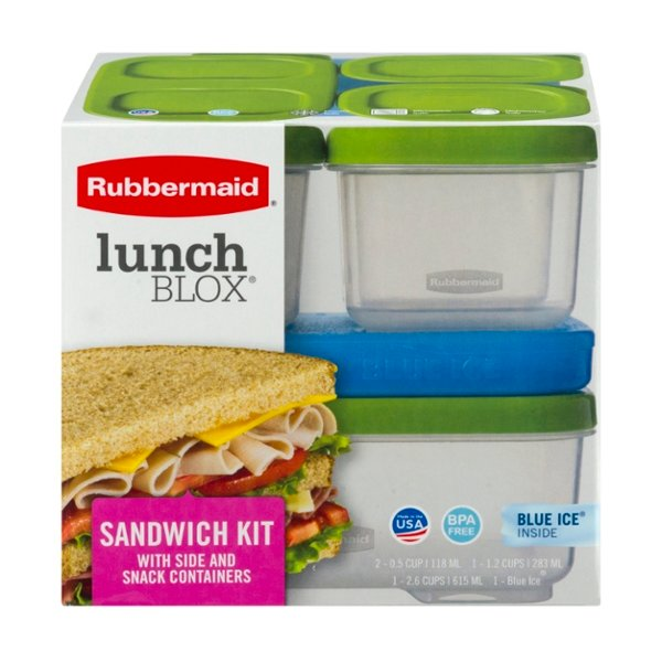 Rubbermaid LunchBlox Sandwich Kit- 2 Snack, 1 Side, 1 Sandwich, 1 Ice Pack
