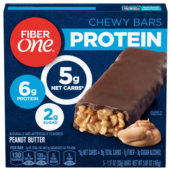 Fiber One Protein Chewy Bars Peanut Butter - 5 ct