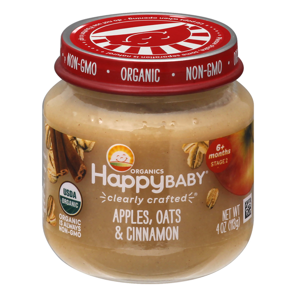 HappyBaby Stage 2 Baby Food Apples Oats & Cinnamon Organic