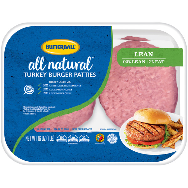 Butterball Turkey Burger Patties 93% Lean All Natural - 4 ct
