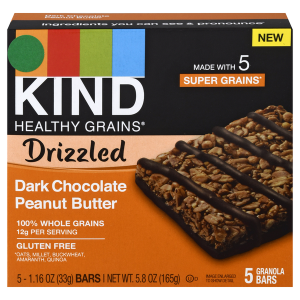 KIND Healthy Grains Granola Bars Drizzled Dark Chocolate Peanut Butter