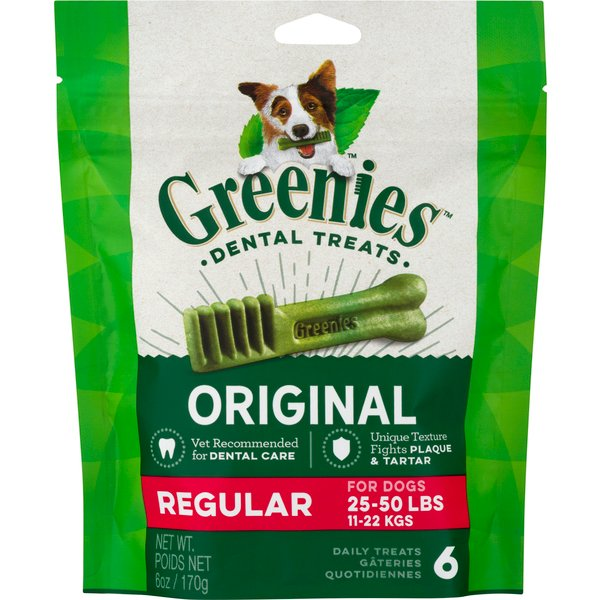 Greenies Dental Treats Original Regular for Dogs 25-50 lbs - 6 ct