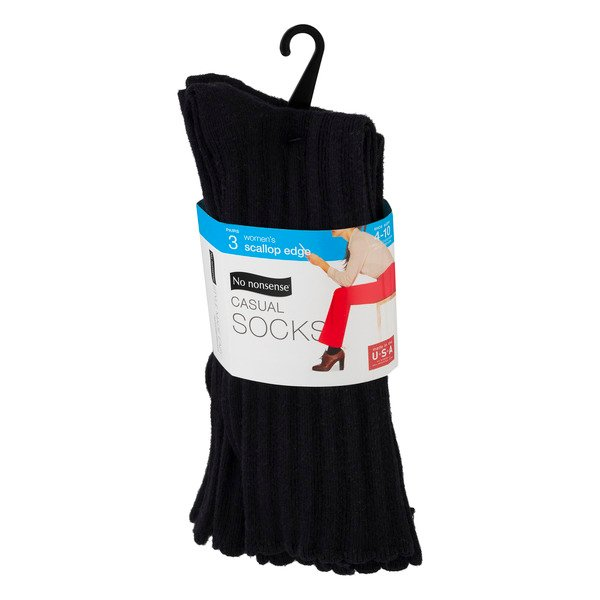 No Nonsense Casual Socks Women's Scallop Edge Sizes 4-10