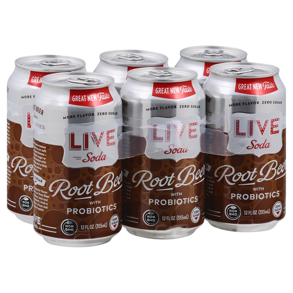 LIVE Soda Root Beer With Probiotics - 6 pk