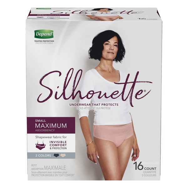 Depend Silhouette Underwear Small Maximum Absorbency Black/Blush