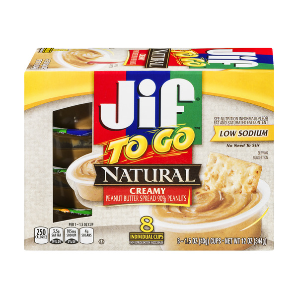 Jif To Go Peanut Butter Creamy Low Sodium Natural - 8 pk