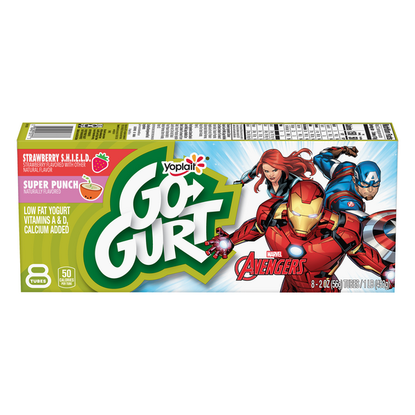 Yoplait Go-GURT Yogurt Marvel Avengers Hero Berry & Super Punch - 8 ct