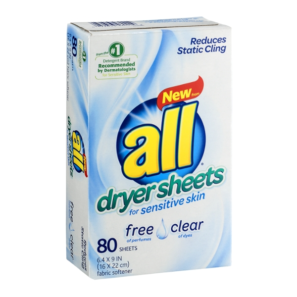 all Fabric Softener Dryer Sheets Free & Clear