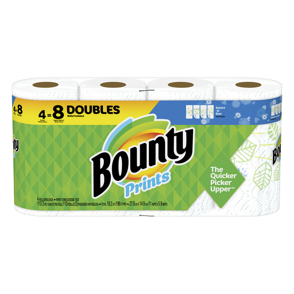 Bounty Select-A-Size Paper Towels Double Rolls Prints