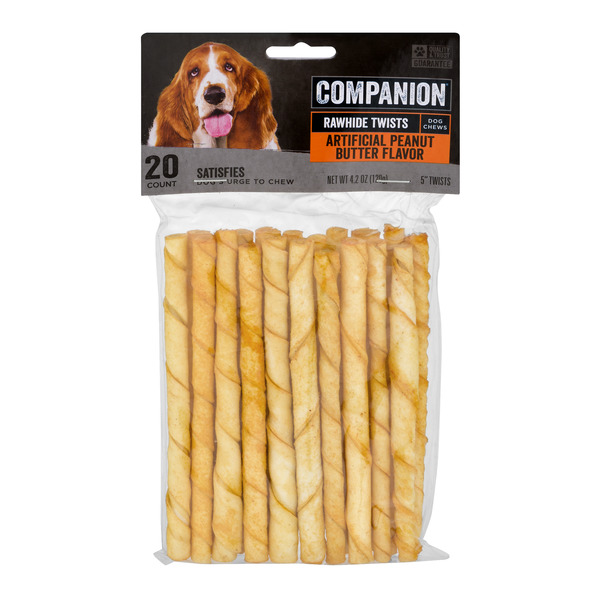 Companion Rawhide Twists Artificial Peanut Butter Flavor
