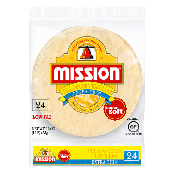 Mission Yellow Corn Tortillas Extra Thin Gluten Free - 24 ct