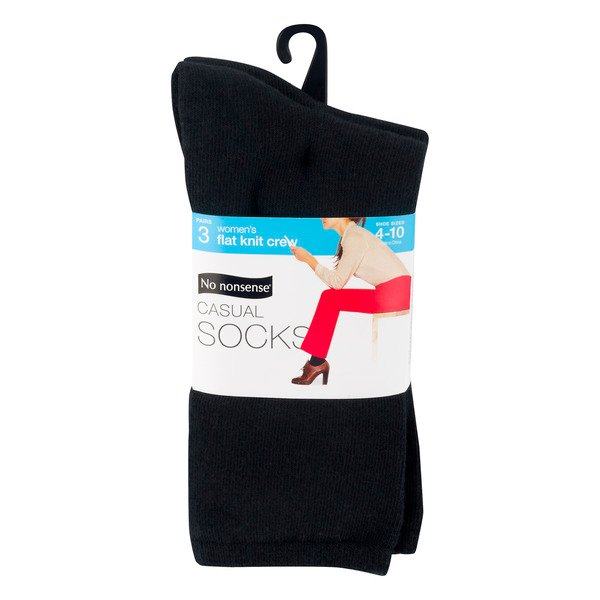 No Nonsense Women's Socks Black Combed Cotton Blend Size 4-10