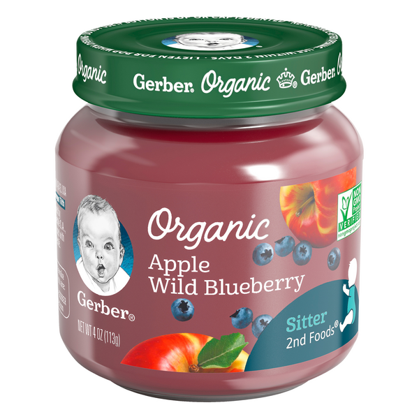 Gerber 2nd Baby Food Apple Wild Blueberry Organic