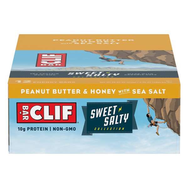 Clif Sweet & Salty Energy Bars Peanut Butter & Honey with Sea Salt - 12 ct