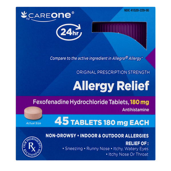 CareOne 24 Hour Allergy Relief 180 mg Tablets Non-Drowsy