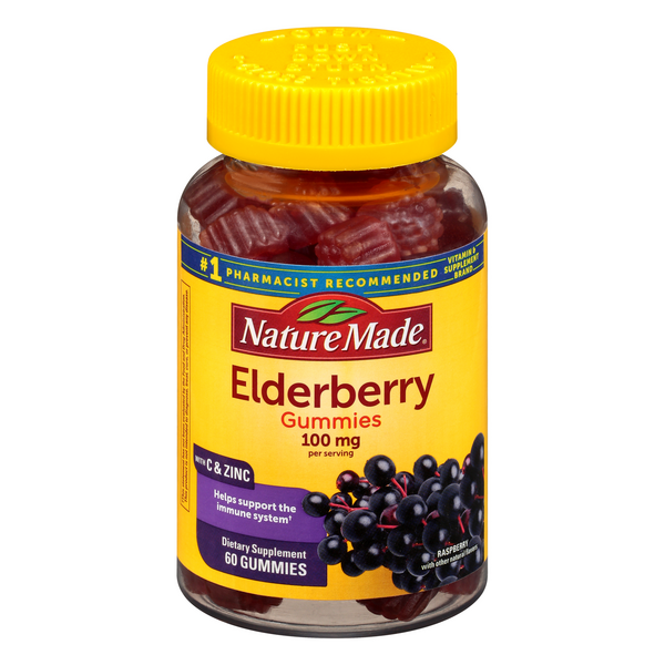 Nature Made Elderberry 100 mg Dietary Supplement Gummies Raspberry