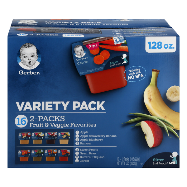 Gerber 2nd Baby Food Fruit & Veggie Favorites Variety Pack - 16 ct
