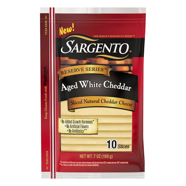 Sargento Reserve Series Aged White Cheddar Sliced - 10 ct