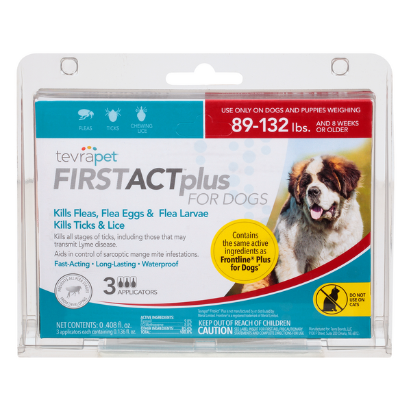 TevraPet FirstAct Plus Flea & Tick Topical for Dogs 89-132 lbs - 3 ct