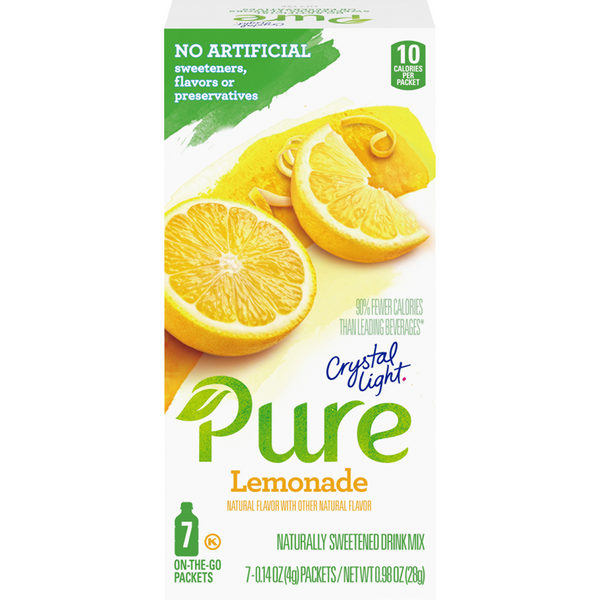 Crystal Light Pure On The Go Powered Drink Mix Lemonade - 7 ct