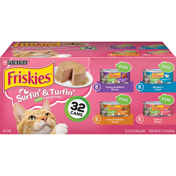 Friskies Surfin' & Turfin' Pate Favorites Wet Cat Food Variety - 32 ct